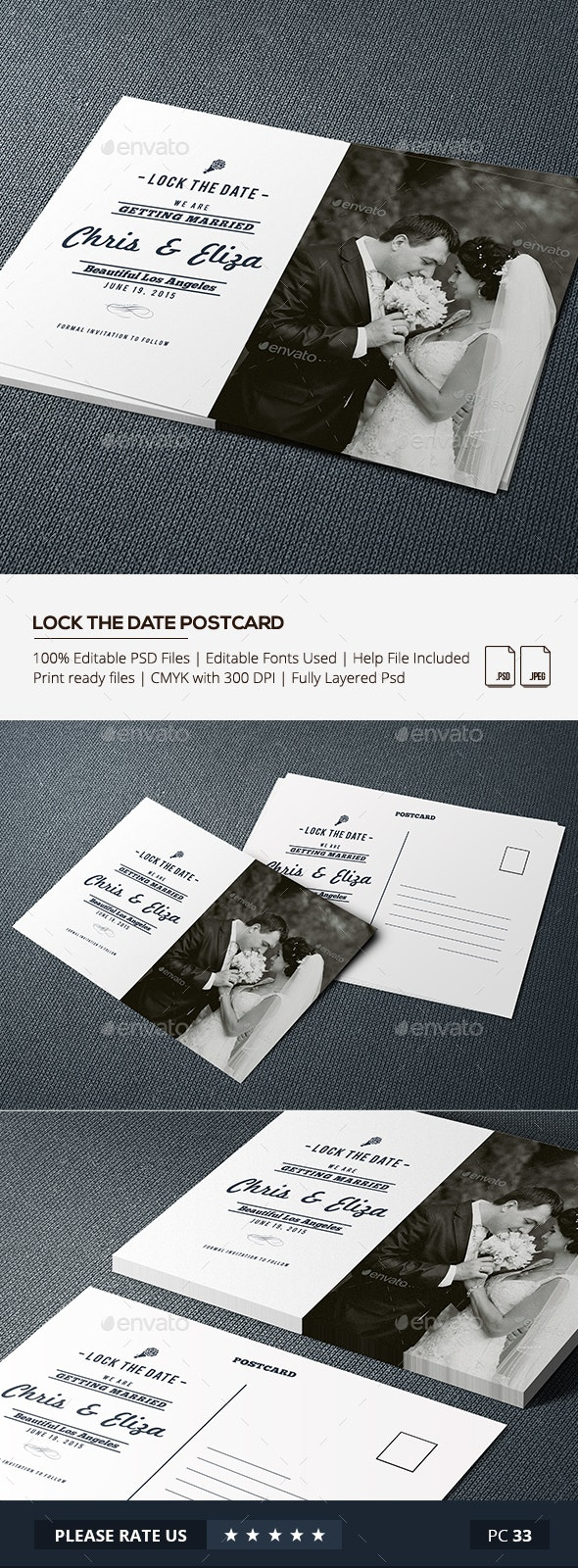 Wedding Lock the Date Postcard - Cards & Invites Print Templates