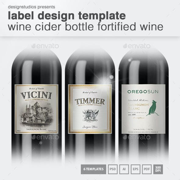 Label Design Template Wine & Cider Bottle