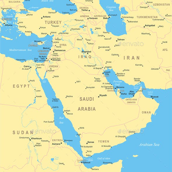Middle East and Asia Map. Yellow Illustration.