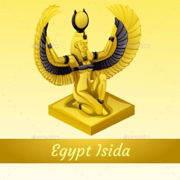 Monument of Egyptian Queen Isida in Gold