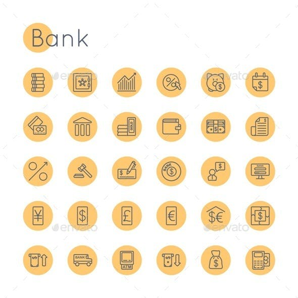 Vector Round Bank Icons