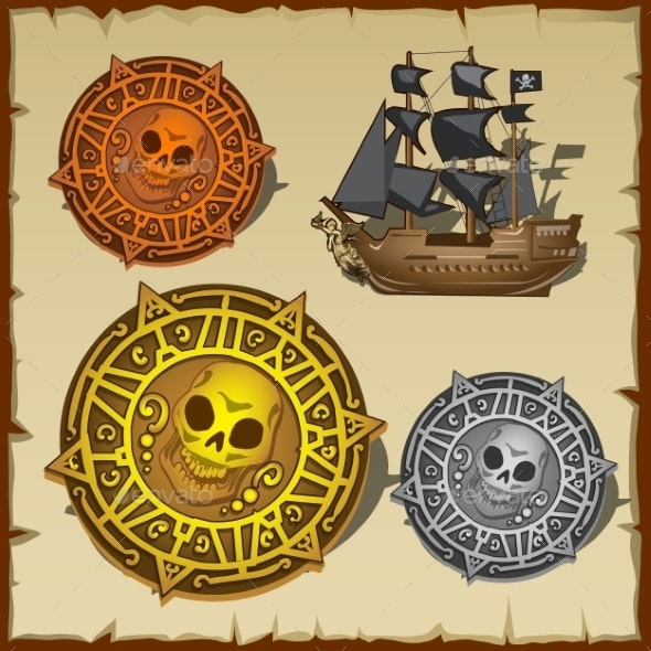 Symbolic Set of Pirate Attributes Seal and Ship - Decorative Symbols Decorative