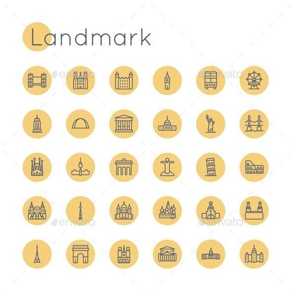Vector Round Landmark Icons