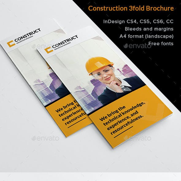 Construction 3fold Brochure InDesign Template