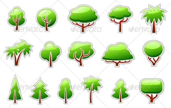 Trees Symbols Icon Set - Decorative Symbols Decorative