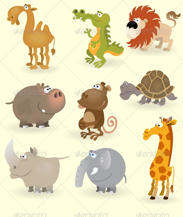 Wild animals set (Africa) - Animals Characters