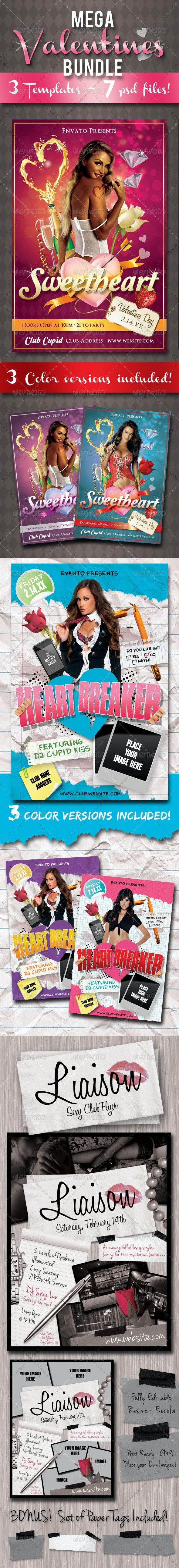 Mega Valentines Flyer Bundle Pack - Clubs & Parties Events