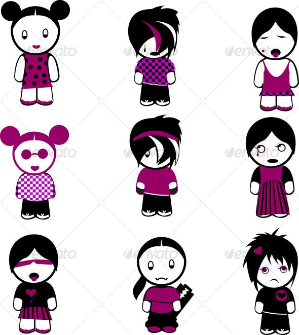 Nine New Emo Girls - People Characters