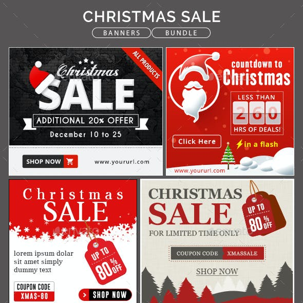 Christmas Sale Banner Bundle - 4 Sets