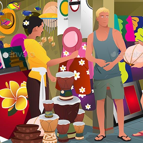 Tourist Buying Souvenir