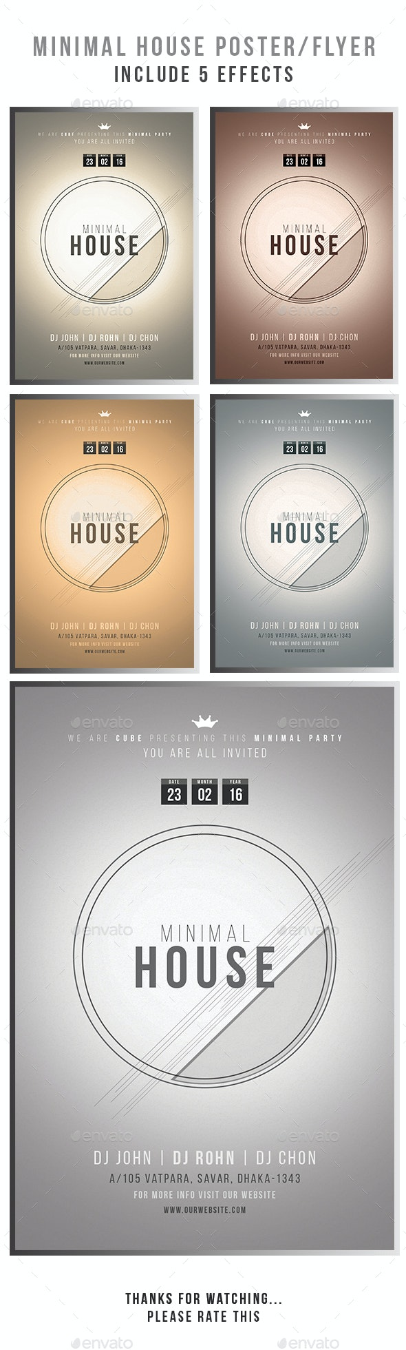 Minimal House Poster  Flyer Template - Flyers Print Templates