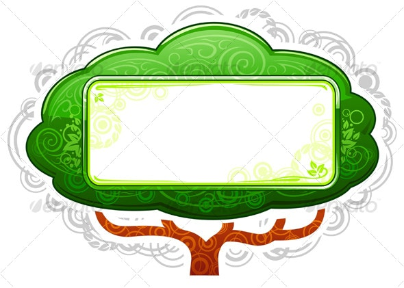 Green Tree Placard with Banner in ecology style - Organic Objects Objects