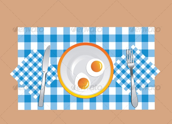 Fried eggs in vector - Food Objects