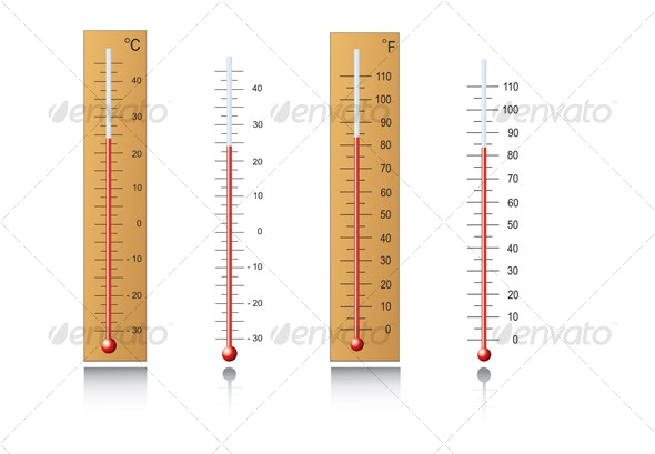 Thermometers in vector - Man-made Objects Objects