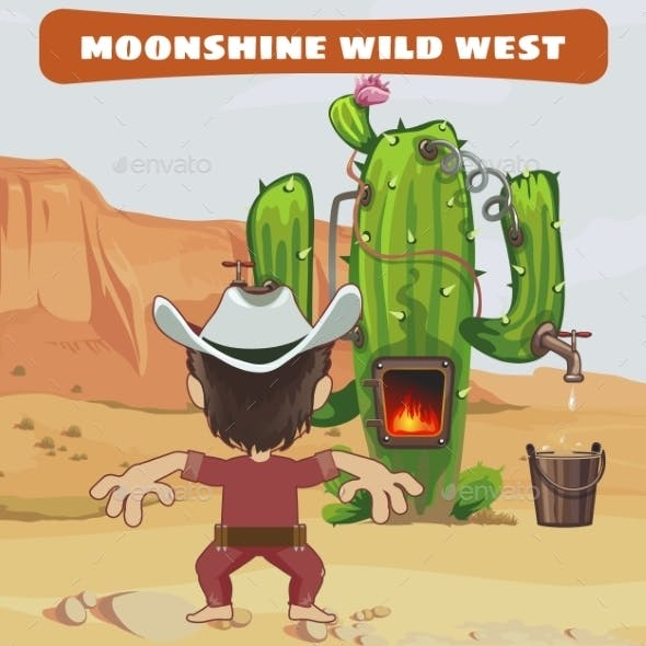 Cowboy Makes Moonshine with Cactus in The Wild West