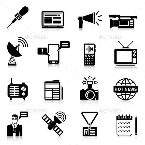 Media Black White Icons Set