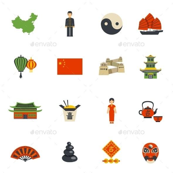 Chinese Culture Symbols Flat Icons Set