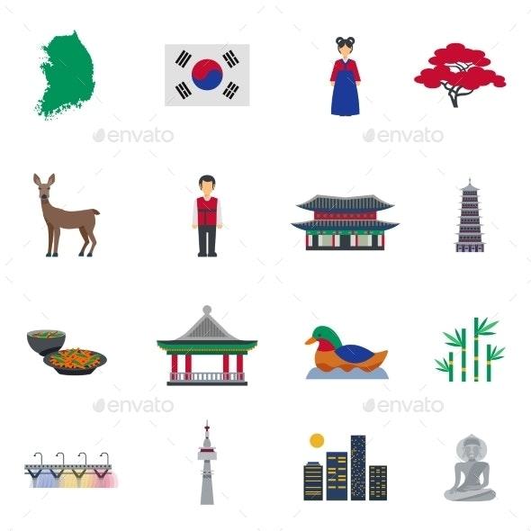 Korean Culture Symbols Flat Icons Set