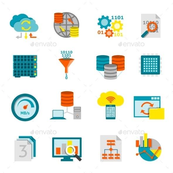 Database Analytics Flat Icons Set