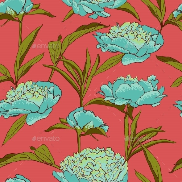 Seamless Floral Background With Peonies  - Flourishes / Swirls Decorative