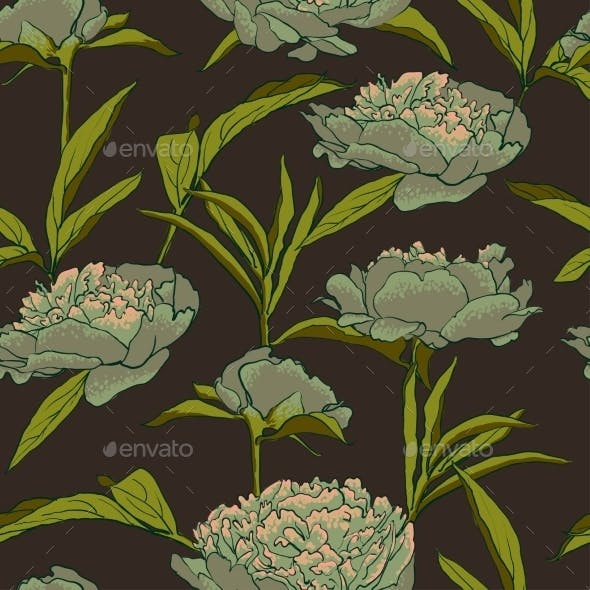 Seamless Floral Background With Peonies