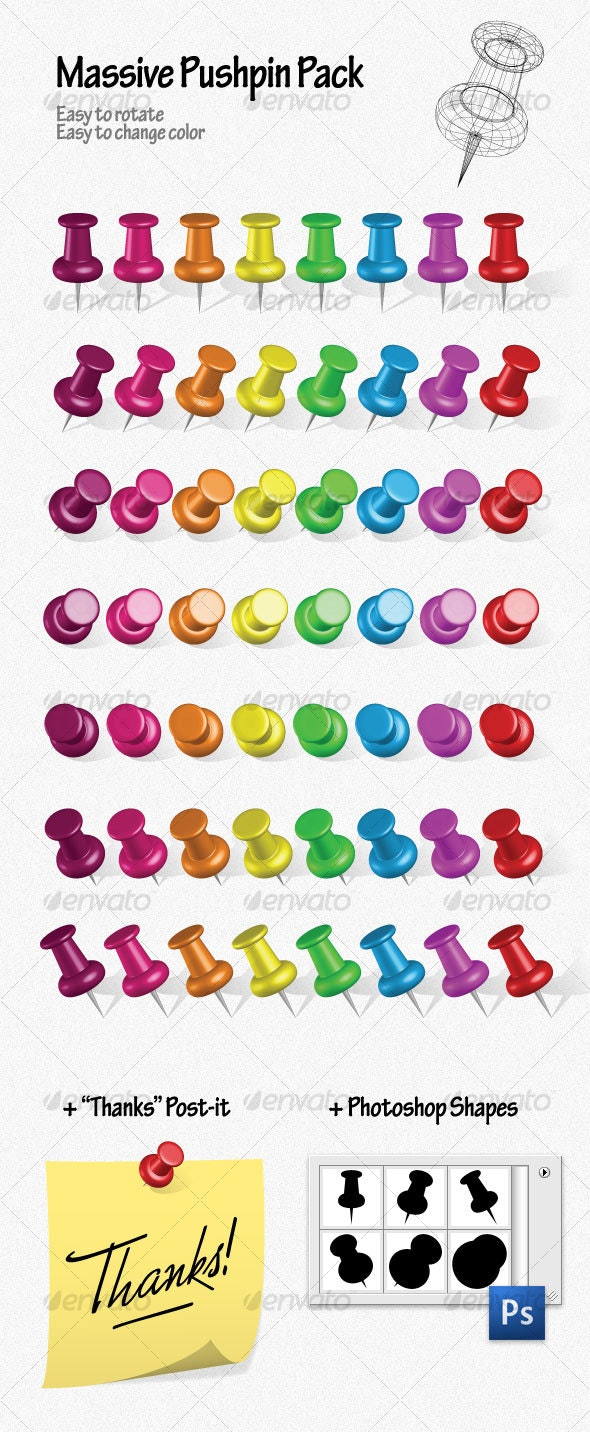 Massive Pushpin Pack - Man-made Objects Objects