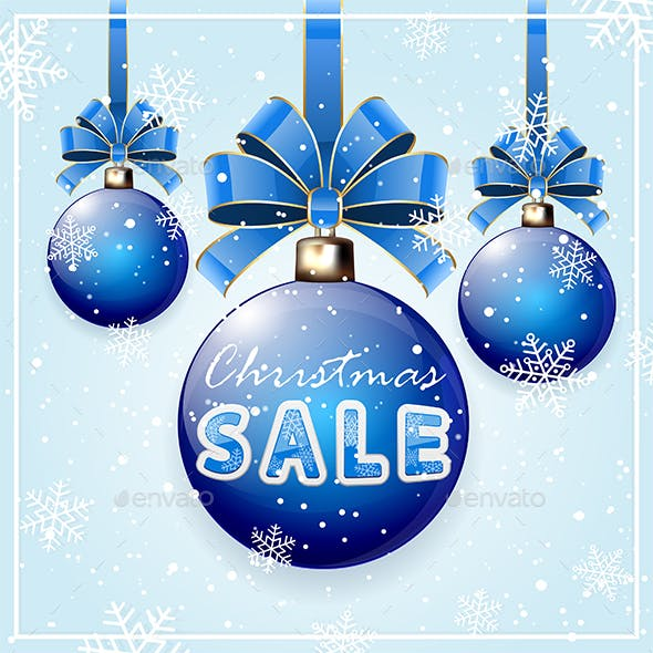 Inscription Christmas Sale on Blue Ball