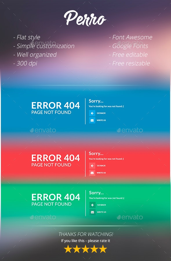Perro - Colorful 404 Pages - 404 Pages Web Elements