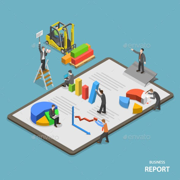 Business Report Isometric Flat Vector Concept
