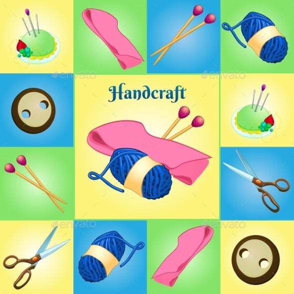 Modern Set For Needlework, Seven Different Objects