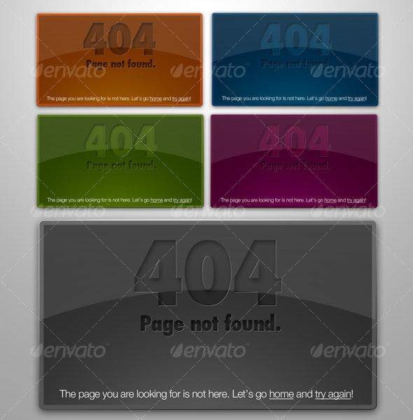Web 2.0 Glossy & Letterpressed 404 Error Boxes - Web Elements