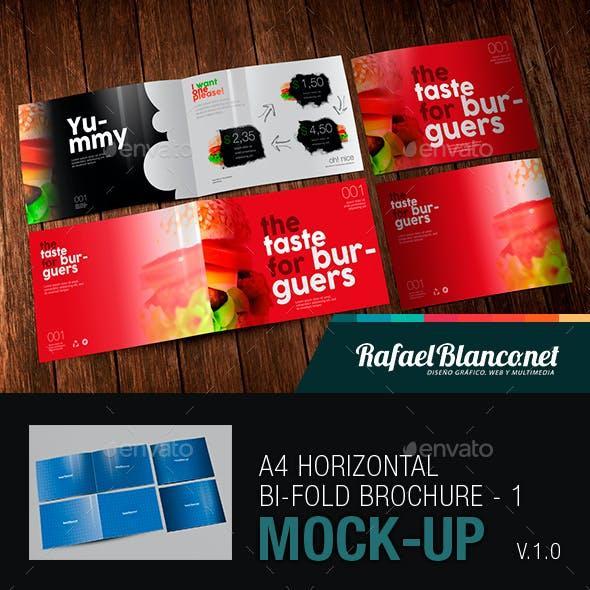 A4 Horizontal Bi-Fold Brochure Mock-Up