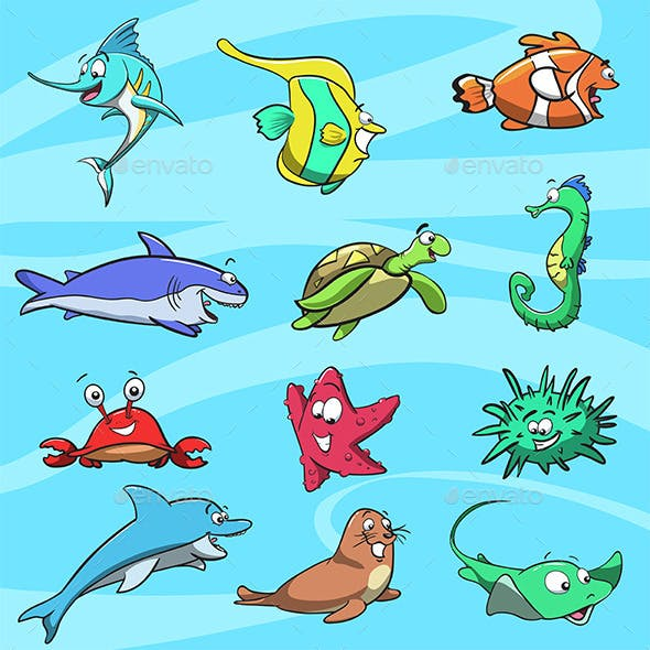 Sea Creatures Character Design Pack