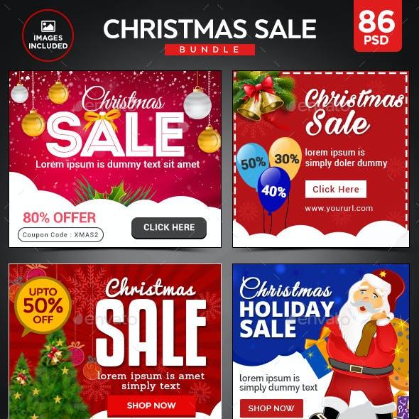 Christmas Sale Banner Bundle - 4 Sets - 86 Banner