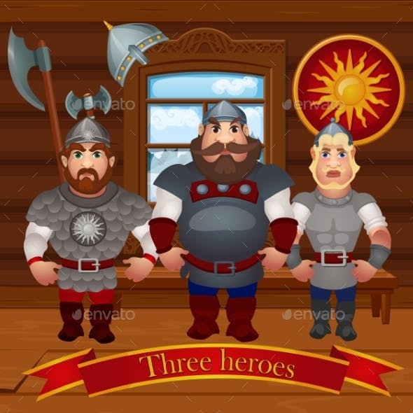 Three Characters In The Hut In Full Armor