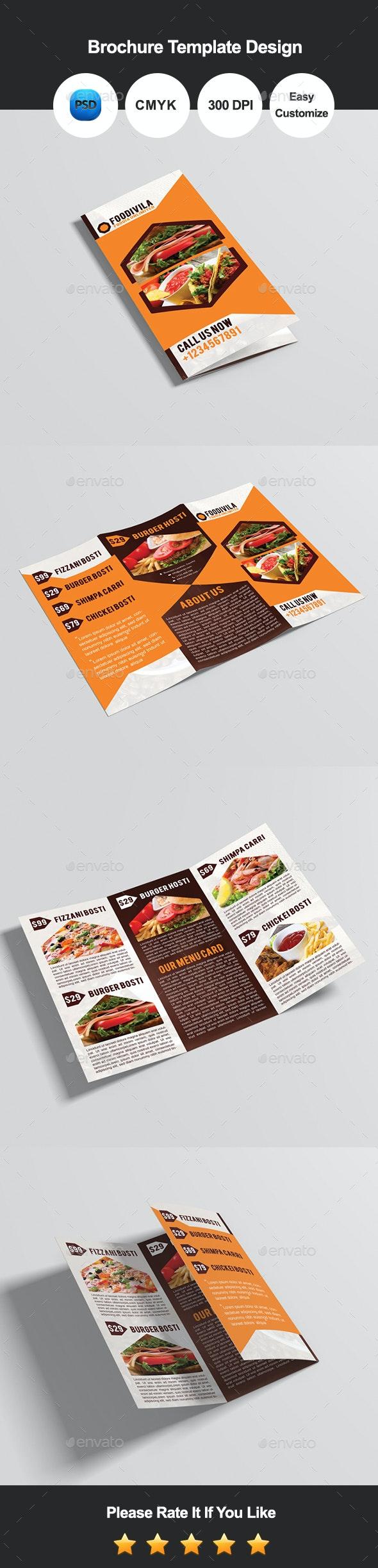 Foodivila Tri Fold Food & Restaurant Brochure Template Design - Catalogs Brochures