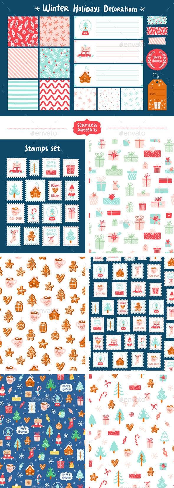 Winter holidays decorations set - Seasons/Holidays Conceptual