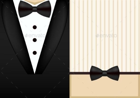 Vector Bow Tie Tuxedo Invitation Design Template - Weddings Seasons/Holidays