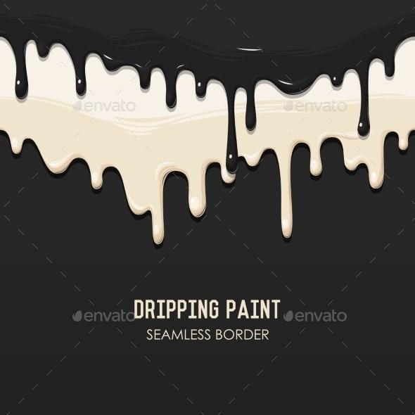 Dripping Paint Seamless Border