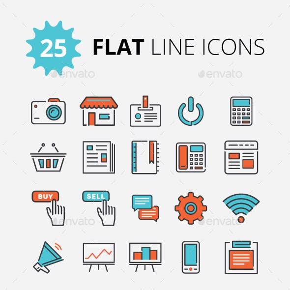 Modern Flat Line Icons