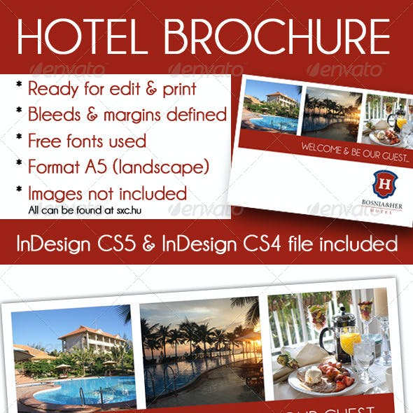 Elegant Hotel brochure A5 InDesign template