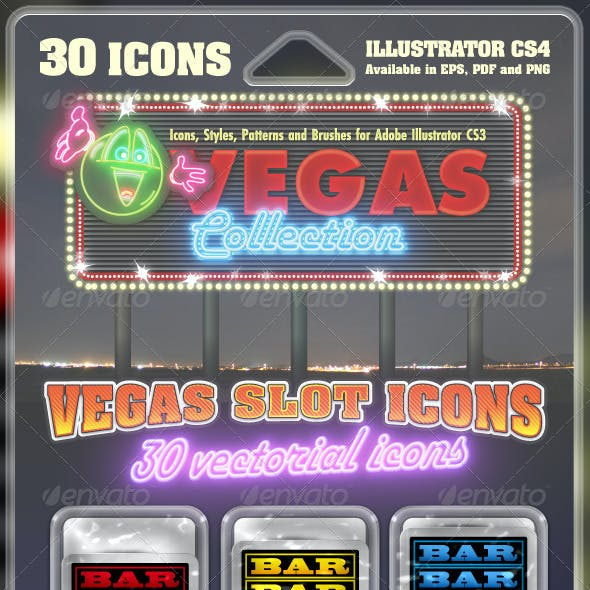 Vegas Slot Icons Collection : 30 vectorial icons