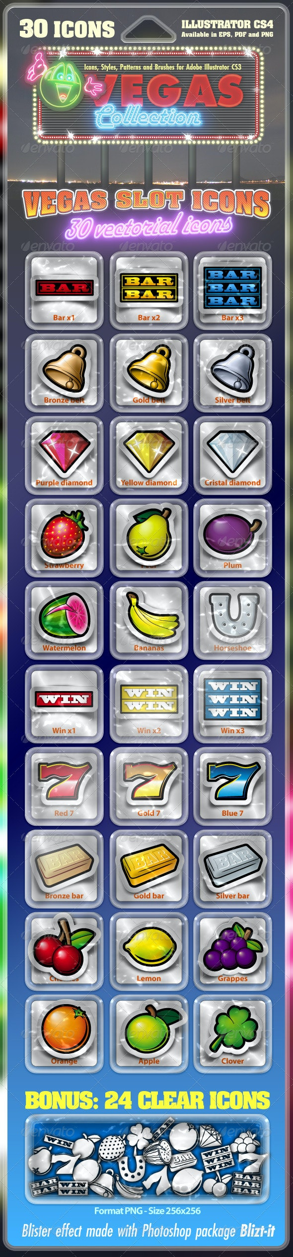 Vegas Slot Icons Collection : 30 vectorial icons - Sprites Game Assets