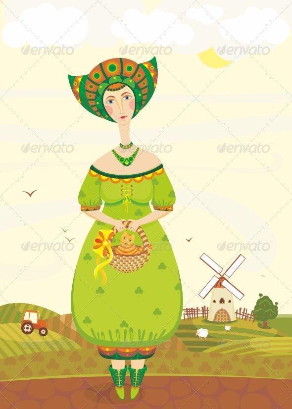 Girl Cat Basket Mill Fields - People Characters