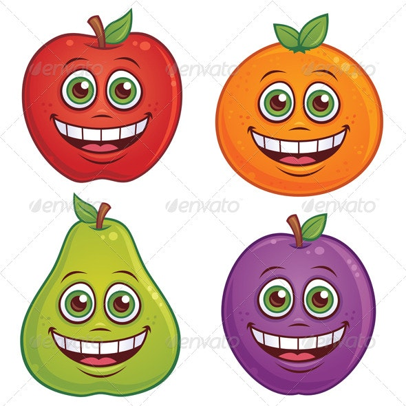 Cartoon Fruit Characters - Food Objects
