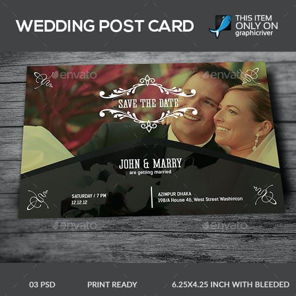 Wedding Post Card Template