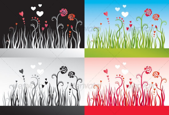 Set of backgrounds with grass, flowers and hearts - Flowers & Plants Nature
