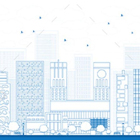 Outline Oslo Skyline with Blue Buildings