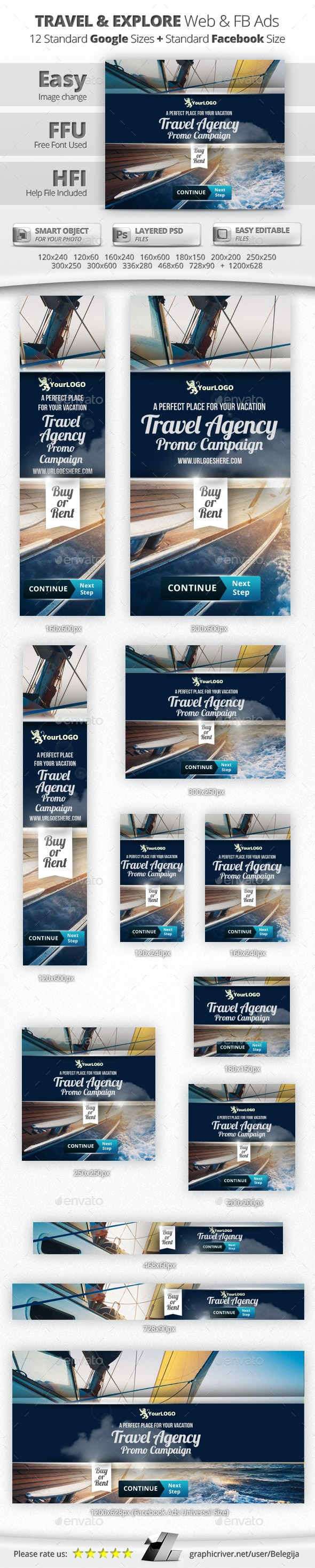 Travel & Explore Web & Facebook Banners - Banners & Ads Web Elements