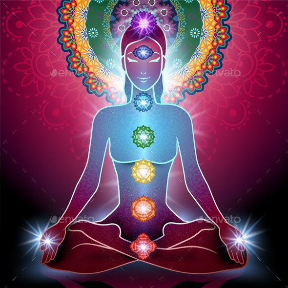 Yoga Lotus Position and Chakra - Miscellaneous Vectors